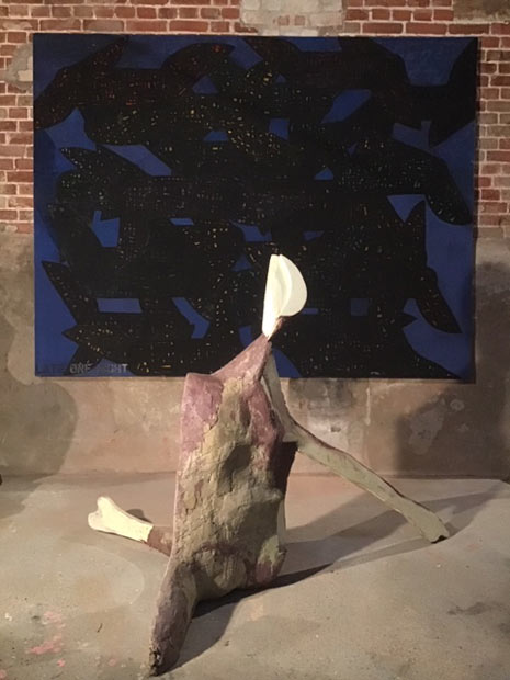 'Moon', sculpture in front of 'Late One Night' canvas collage and acrylic on canvas