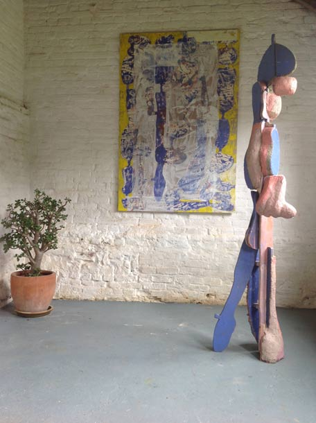 'Stepping Out' painting and sculpture with same title